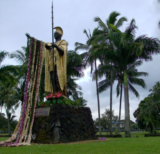 every year halau participate in the lei draping of the statue of King Kamehamaha I